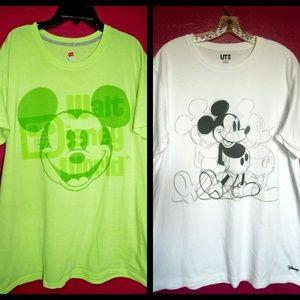 Men Disney Mickey Neon Green WDW & Drawing Uniqlo